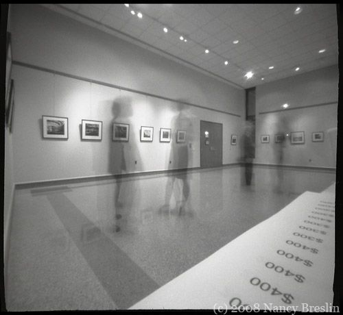 3-7-08.  Opening reception at the Mezzanine Gallery, Wilmington.  5 minute pinhole exposure. It was the opening of a show of my pinhole photography.