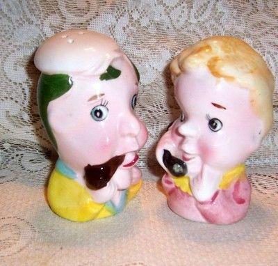 Vintage Man and Woman Head Salt & Pepper Shakers Japan: