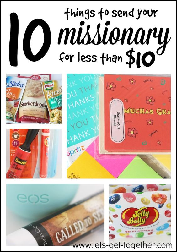 10 Things to Send Your Missionary for Less Than $10-great list of simple, inexpensive items for care packages and a link to a classic missionary talk from Elder Oaks to send along too. www.lets-get-together.com #missionary #lds #mail