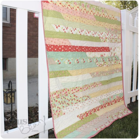 Fastest quilt you'll ever make! No planning, pinning, matching seams, or exactness. Just good old relaxing sewing... and sighing over such dreamy fabrics. Great for quick gifts too!