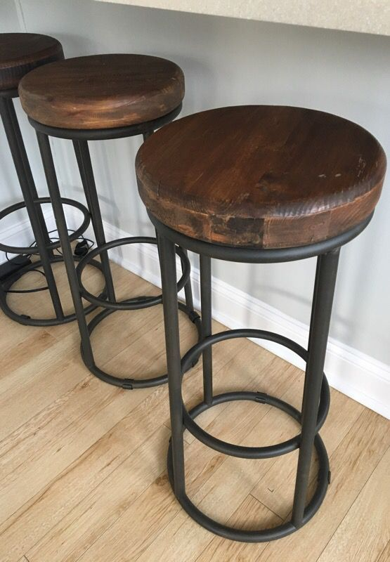 Three Kosas Brand Wood And Welded Iron Bar Stools Bar Height Bar