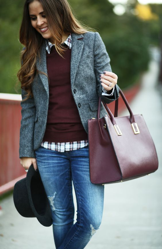 boden tweed herringbone blazer and marsala bag