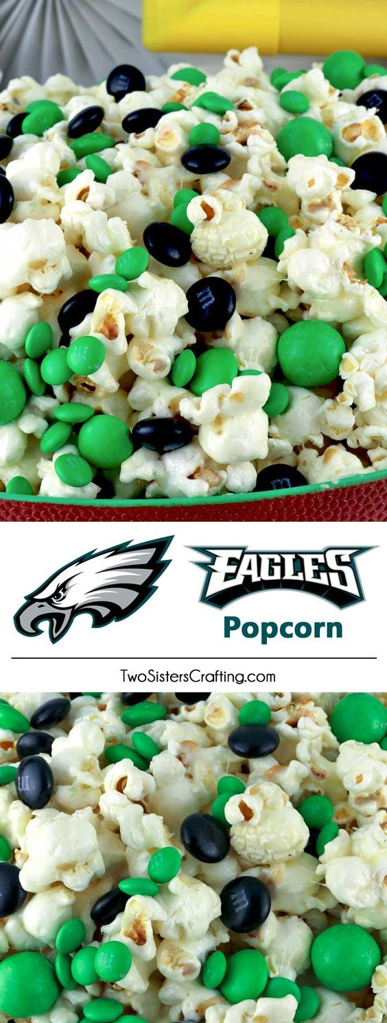 Philadelphia Eagles Popcorn for those Philadelphia Eagles fans in your life. Sweet, salty, crunchy and delicious and it is extremely easy to make. This delicious popcorn will be perfect at your next game day football party. a NFL playoff party or a Super Bowl party. Follow us for more fun Super Bowl Food Ideas. #philadelphiaeagles #eagles #superbowl #superbowlparty #superbowlfood #philadelphiaeaglesfood via @2SistersCraft