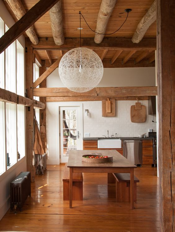 Exposed beams rustic and design for kitchen on pinterest for Modern barn kitchen