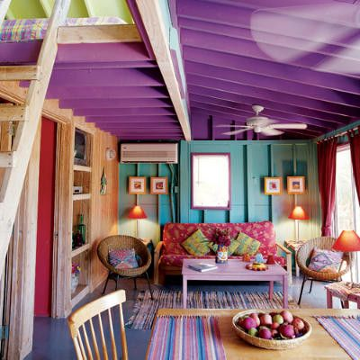 Everything about this is right. Colorful walls, colorful furniture, a loft, built-ins. Yes.