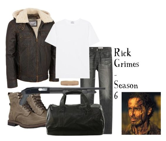 """*unisex* Rick Grimes costume"" by x-supernatural-x ❤ liked on Polyvore featuring Wilsons Leather, AG Adriano Goldschmied, Acne Studios, Timberland and Modern Bride"
