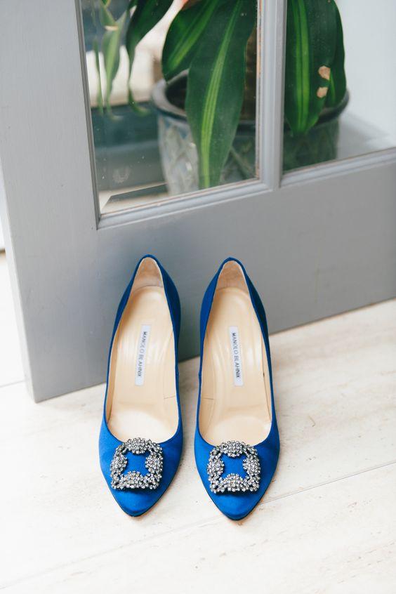 Karen & Steve - Emma Pilkington Photography / Blue Manolo Blahnik Hangisi 105 Royal Blue Satin Pumps