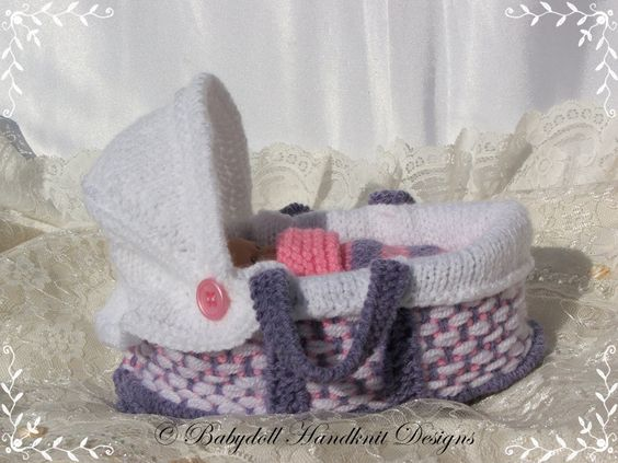 Moses Basket 4-5 inch doll-knitting pattern, crib, moses ...