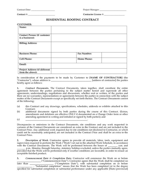 Sample Roofing Contract Free Printable Documents Roofing Contract Roofing Contract Template