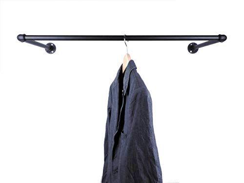 Garderobe Schwarz Metall Breite 60 90 Oder 110cm Fur Kleiderbugel Wandbefestigung Im Industrial Design Wandgarderobe Klei Wardrobe Rack Wardrobe Home Decor