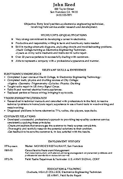 example of resum hospitality job resume sample