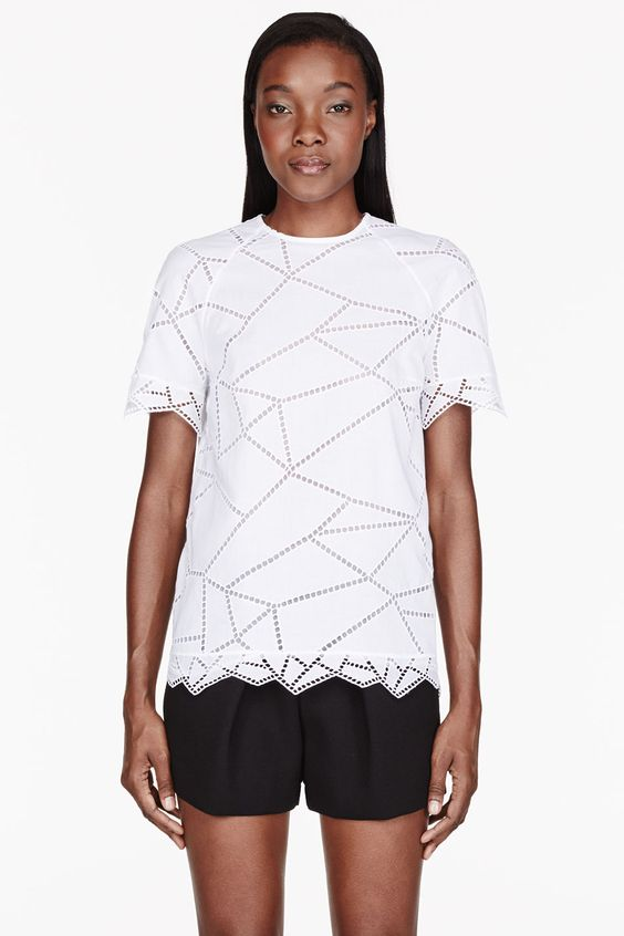 CHRISTOPHER KANE White cotton broderie anglaise t-shirt - $980 @ ssense.com