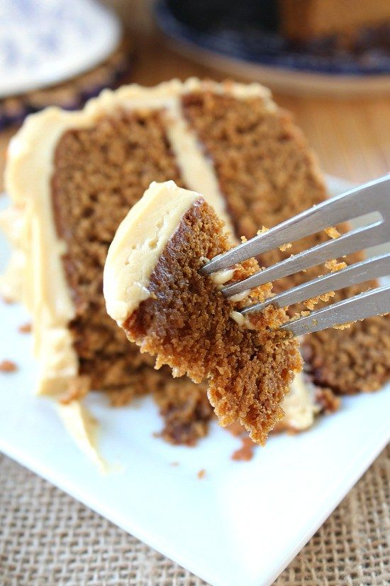 Gingerbread Cake with Molasses Cream Cheese Frosting. #autumn #Thanksgiving #Christmas