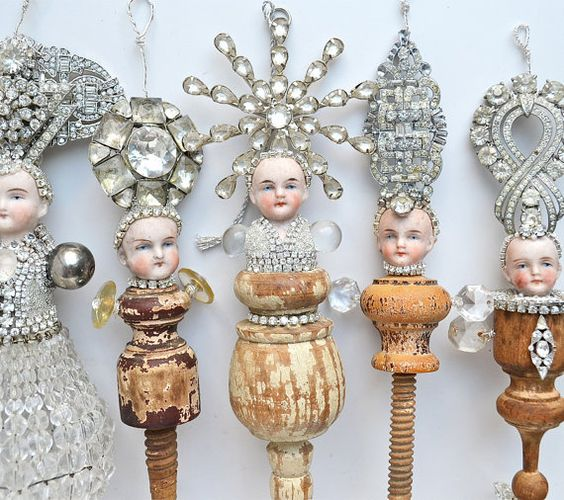 mixed media assemblage, Grand Dutchess (40), an original assemblage art doll, encrusted jewelry ornament, by Elizabeth Rosen: