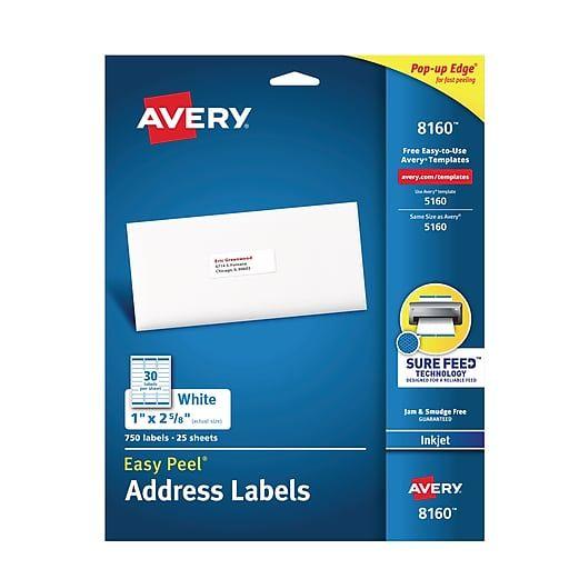 Avery Easy Peel Inkjet Address Labels 1 X 2 5 8 White 30 Sheet 25 Sheets Pack 8160 At Staples Avery Address Labels Sheet Labels Return Address Labels Template