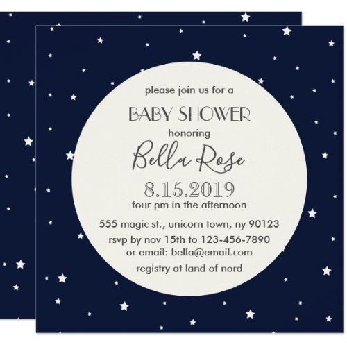 Midnight Blue Full Moon Star Baby Shower Card Zazzle Com Moon Stars Baby Shower Star Baby Showers Baby Shower Cards