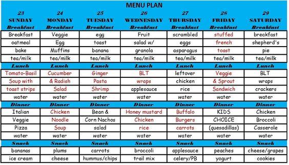 Menu Plan Monday! GF, Healthy, Kid Friendly