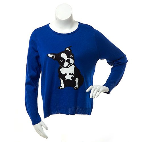 Womens Ruby Rd. Long Sleeve Dog Intarsia Sweater