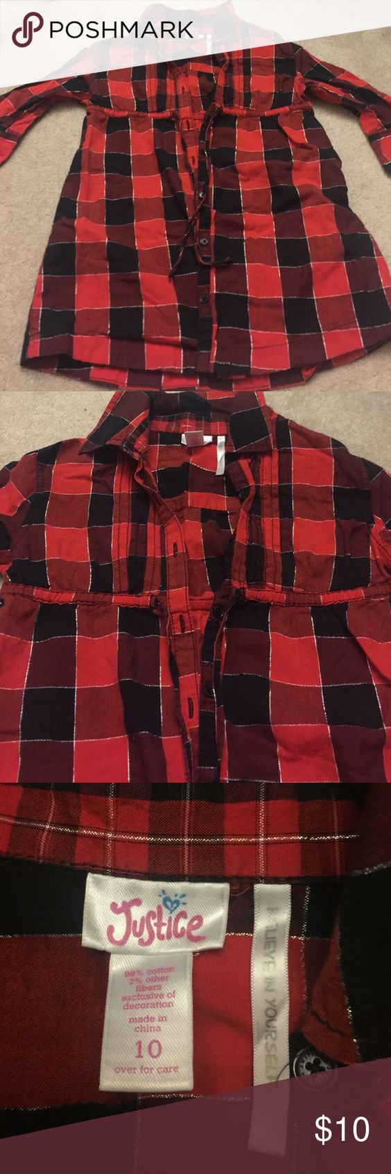 3/4 sleeve plaid button down shirt Red, black and silver plaid. Button down with tie under the bust line. 3/4 sleeve- looks adorable on. Worn once for photos! Justice Shirts & Tops Tees - Long Sleeve