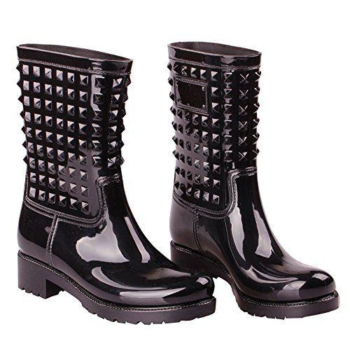 Fereshte Winter Womens Fashion Waterproof PVC Rivet Galoshes Black ...