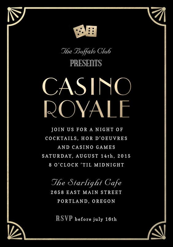 gala casino night invitation