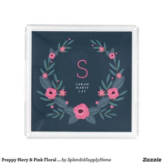 Preppy Navy & Pink Floral Wreath Monogrammed Tray