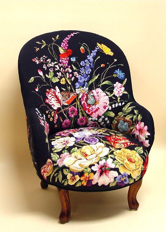 Needlepoint armchair. In.Sane. So gorgeous!: