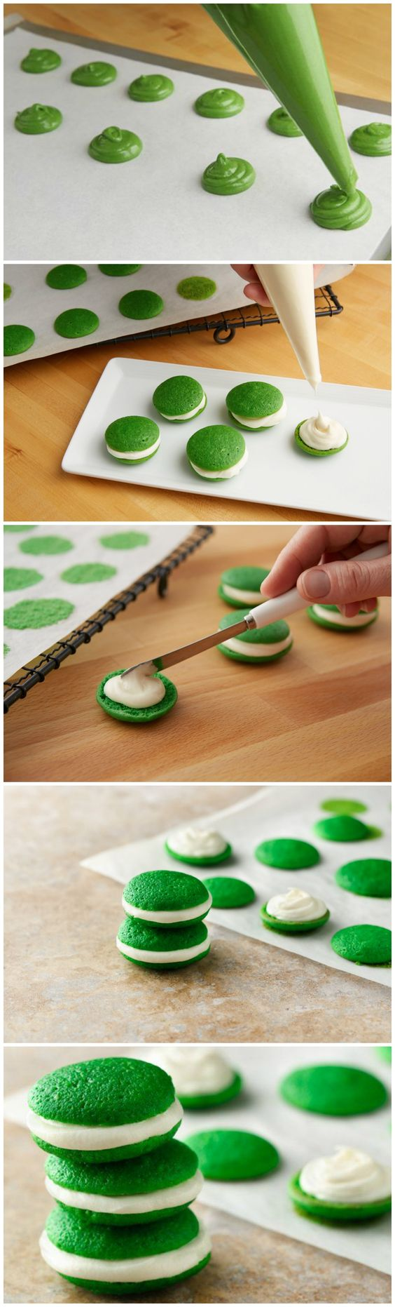 These look mysteriously easy to make...Mini Whoopie Pies!!!  So cute for St. Patrick's day!: Mini Whoopie Pie, Mini Valentine Cupcakes, Green Party Food, Mini Food, Valentine Mini Cupcakes