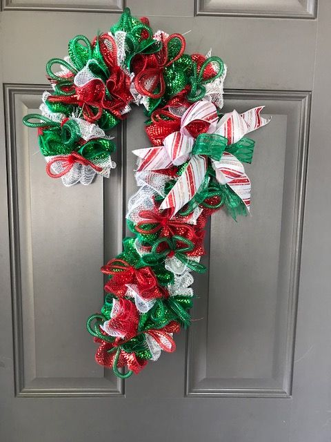 Candy Cane Wreath Wreath Christmas Candy Cane Christmas Candy Cane Decor Cane Wreath Christmas Decorations Seasonal Door Decorating