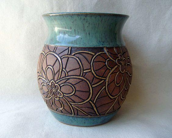 Hand carved pottery vase mosaic look flower design