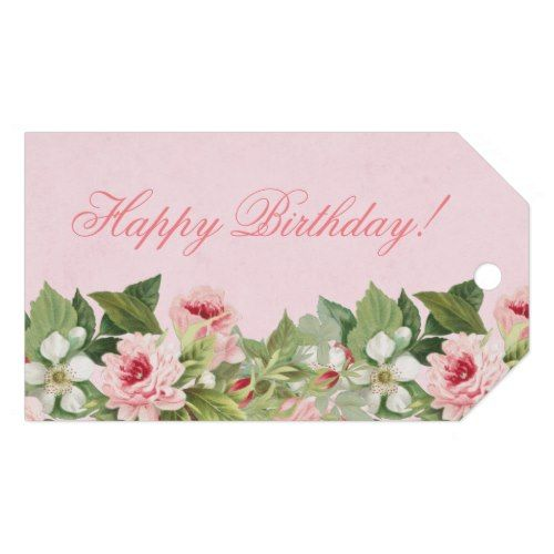 Elegant Floral Happy Birthday Gift Tag W Flowers Zazzle Com