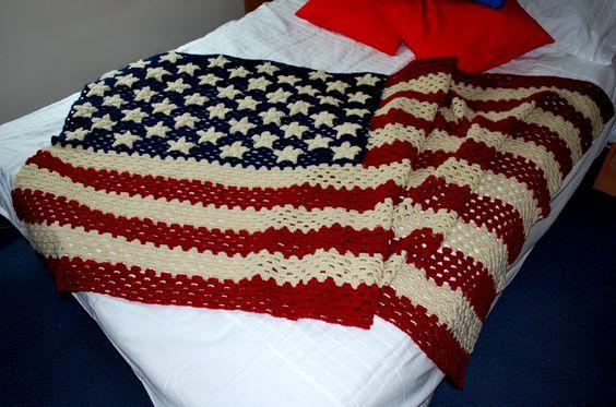 Small American Flag Crochet Pattern : Crochet American flag Knitting / Crochet Pinterest ...
