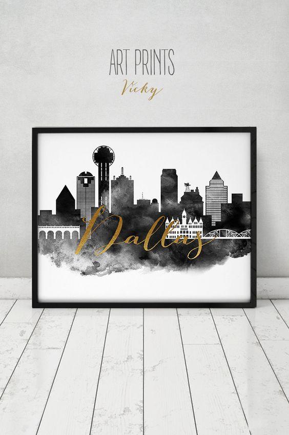 Dallas art print, watercolor poster, black and white Wall art, Dallas skyline, travel poster, Texas, print faux gold text, ArtPrintsVicky by ArtPrintsVicky on Etsy