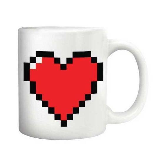 Pixel Heart Heat Changing Mug: