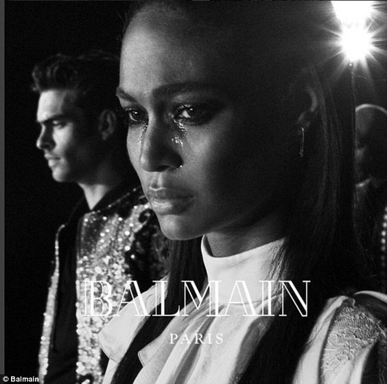 Emotional: Joan Smalls, a Balmain Army regular, is pictured crying in a still from the cli...: