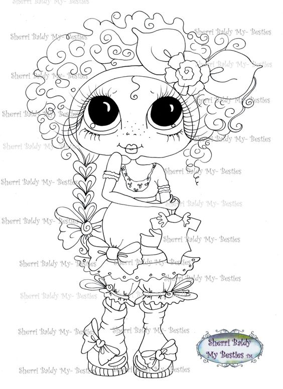 INSTANT DOWNLOAD Digital Digi Stamps Big Eye Big Head Dolls IMG216 ...