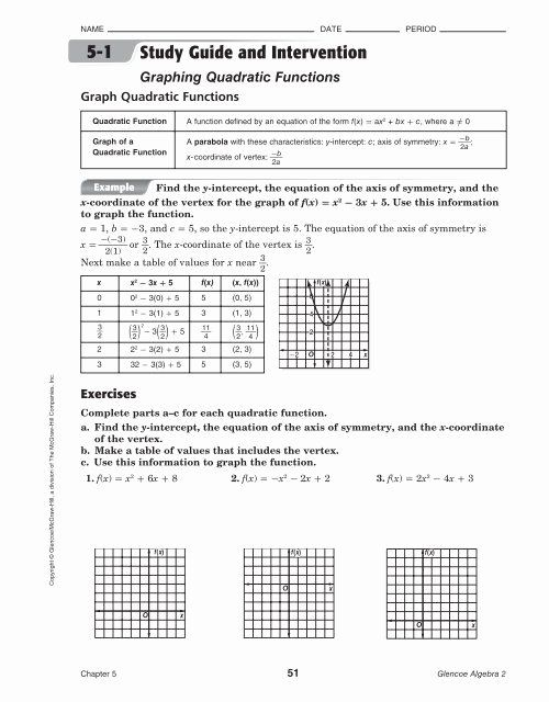 Introduction To Quadratic Functions Worksheet Best 5 1 Study Guide And Intervention Graphing Qu In 2020 Quadratics Kindergarten Math Worksheets Free Graphing Functions