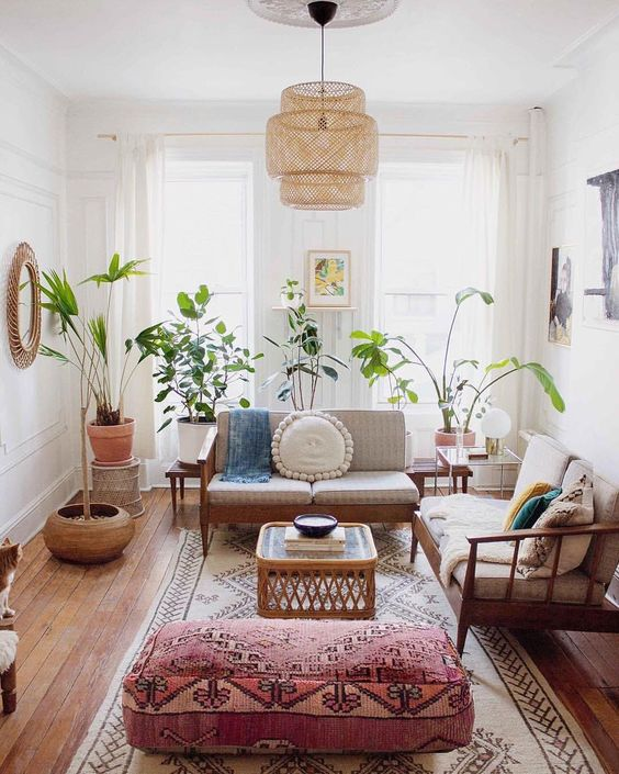 Pink boho chic Brooklyn apartment by Mallory Fletchall.