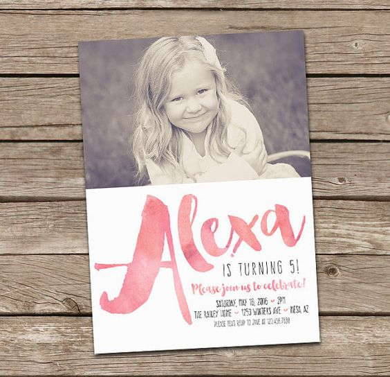Girl Birthday Invitation : Watercolor or Faux Gold by deanworks