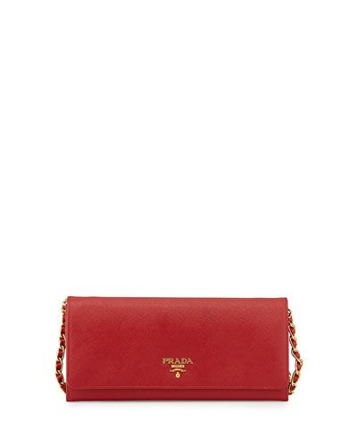 Prada Saffiano Wallet on a Chain, Red