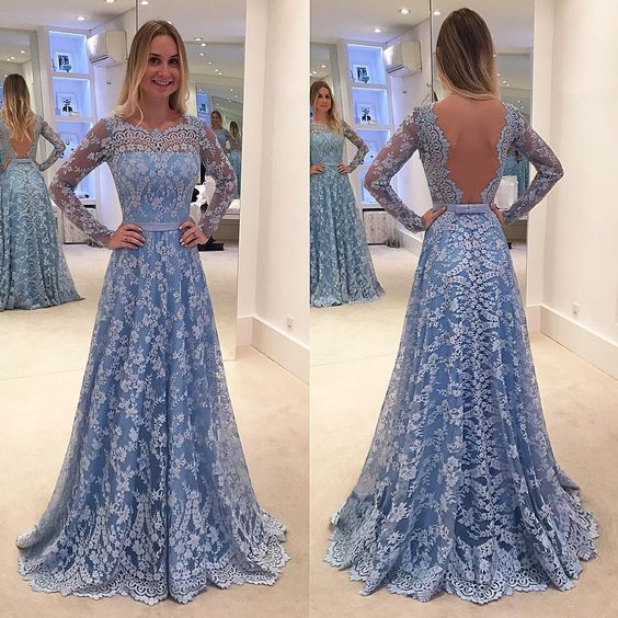 Charming lace prom dress,long sleeves prom dress,sexy open back evening dress,2016 custom