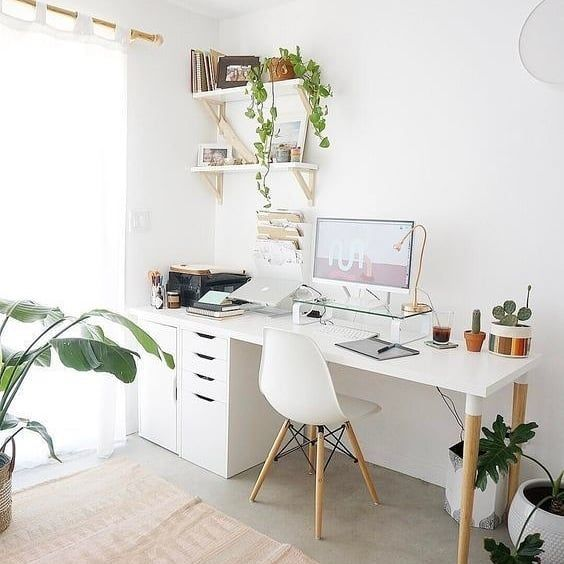 Home Office Design I Ve Been Spending The Evening Looking Through Pinterest For Inspo For Our Home Of In 2020 Cozy Home Office Home Office Design Small Home Office