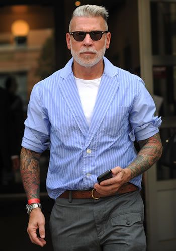 The always impeccable Nick Wooster, street style icon. Twists traditional menswear into a ruggedness better than any urban lumberjack.