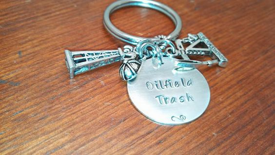 Hand stamped key chain oilfield. Oilfield by ByalittlebitofFaith, $28.00