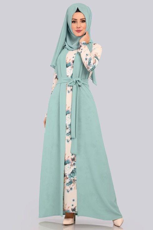 Modaselvim Kombin Yelekli 2 Li Kombin 00445 B329 S Mint Abaya Fashion Muslimah Fashion Fashion