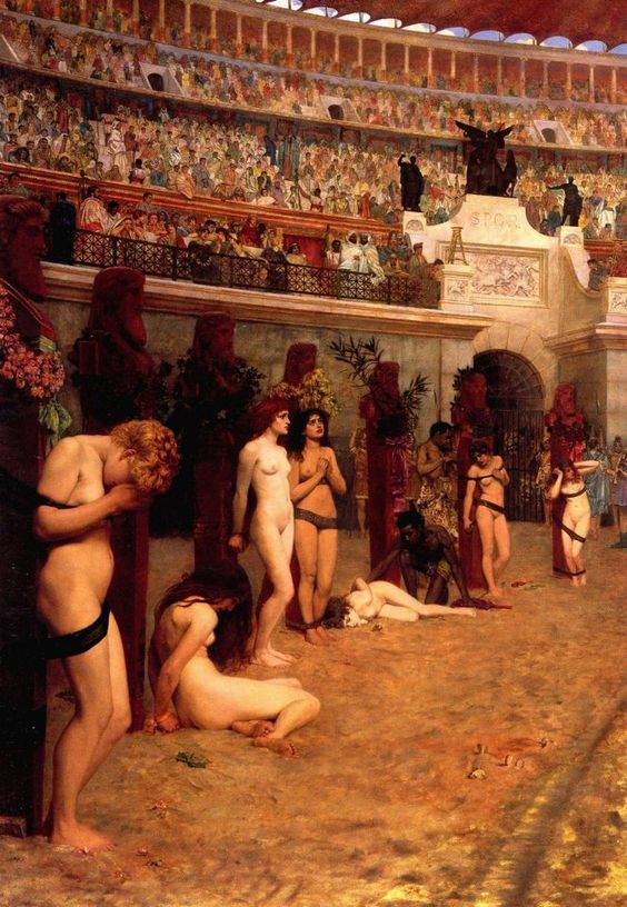 "el-guia-del-laberinto: "" Faithful Unto Death - Christianos ad leones!, Herbert Gustave Schmalz """