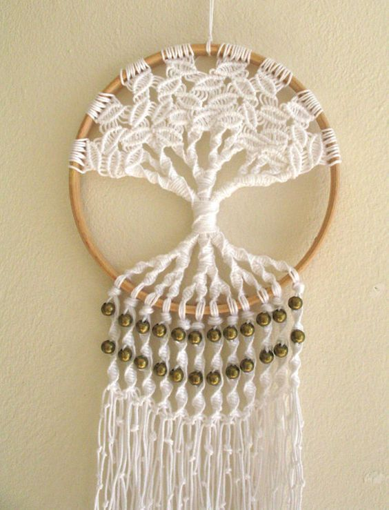 macrame tree of life 6 inch hoop wall hanging tree of life dream catcher with brass bead detail. Black Bedroom Furniture Sets. Home Design Ideas