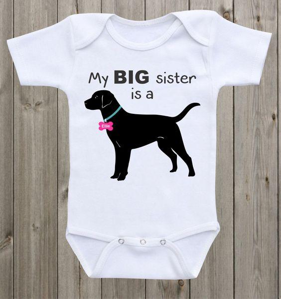 Promini Funny My Big Brother Sister is a Labrador Body para beb/é