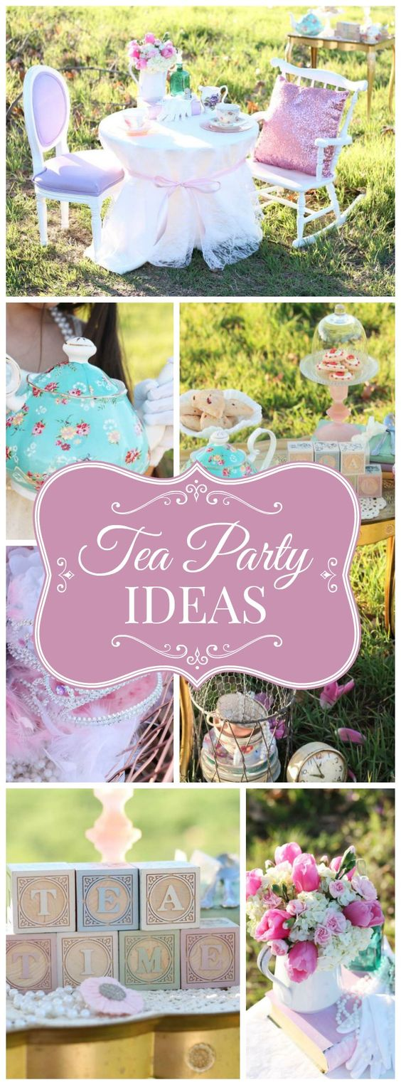 What a gorgeous outdoor tea party for two sisters! See more party ideas at CatchMyParty.com!