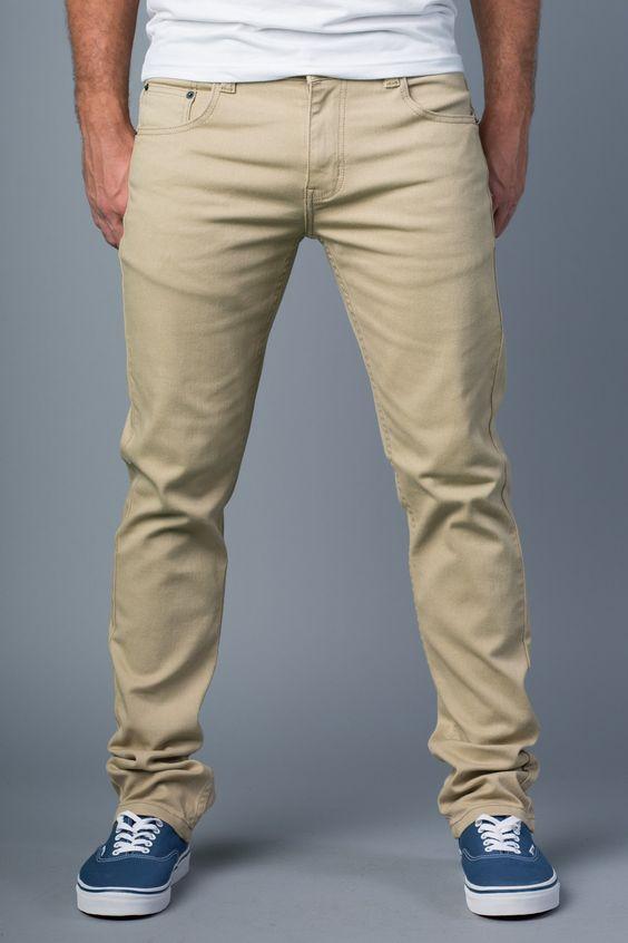 {Polychrom} Back in Khaki Skinny-Slim Jeans: